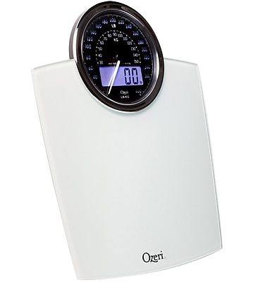 Ozeri Rev Digital Bathroom Scale w/ Electro-Mechanical Weight Dial; White