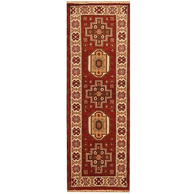 Herat Oriental Kazak Hand-Knotted Red/Ivory Area Rug