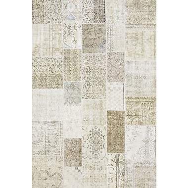 Pasargad Patchwork Hand-Knotted Beige Area Rug