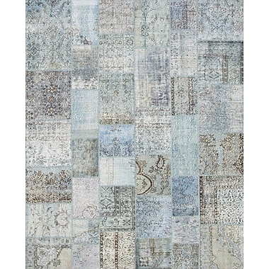 Pasargad Patchwork Hand-Knotted Blue Area Rug