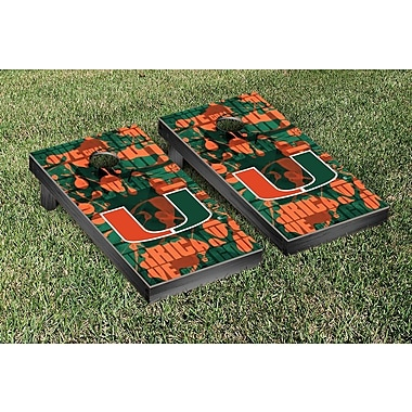 Victory Tailgate NCAA Fight Song Version 2 Cornhole Game Set; Miami Hurricanes