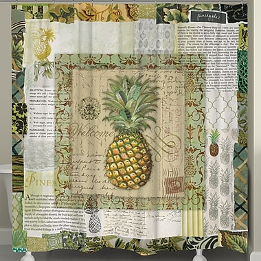 LauralHome Pineapple Scrapbook Shower Curtain