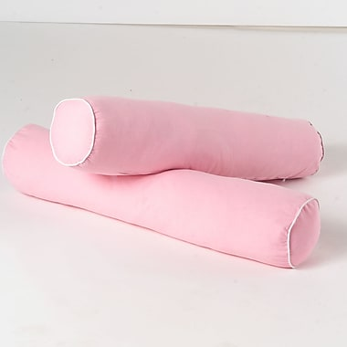 Maxtrix Kids Bolster Cover (Set of 2); Soft Pink / White
