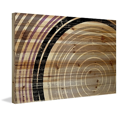 Marmont Hill 'Tan Rings' Painting Print on Natural Pine Wood; 30'' H x 45'' W x 1.5'' D