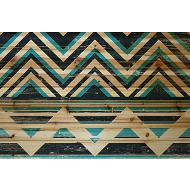 Marmont Hill 'Blue And Black' Painting Print on Natural Pine Wood; 30'' H x 45'' W x 1.5'' D