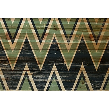Marmont Hill 'Green Black Zigs' Painting Print on Natural Pine Wood; 24'' H x 35'' W