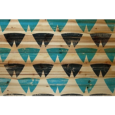 Marmont Hill 'Split Triangles' Painting Print on Natural Pine Wood; 24'' H x 36'' W x 1.5'' D