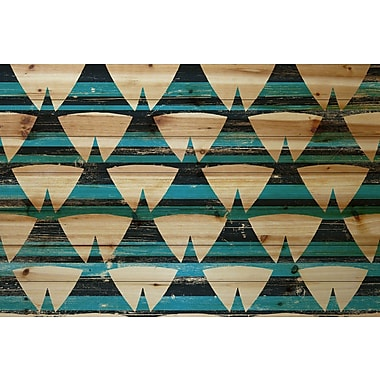 Marmont Hill 'Tentlike Rows' Painting Print on Natural Pine Wood; 24'' H x 36'' W x 1.5'' D