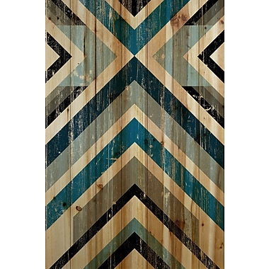 Marmont Hill 'Climbing Vees' Painting Print on Natural Pine Wood; 24'' H x 36'' W x 1.5'' D