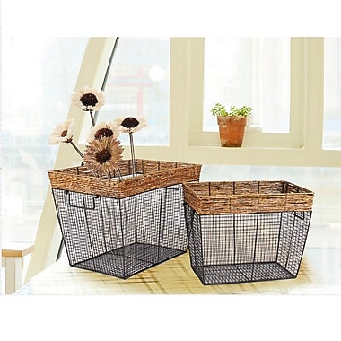 AdecoTrading 2 Piece Iron Wire Rectangular Basket w/ Mesh Body (Set of 3)