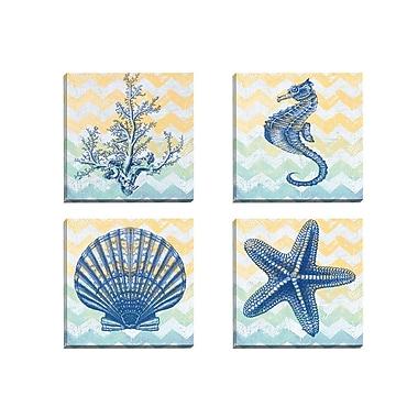 Portfolio Canvas Chevron Coral by Jean Plout 4 Piece Graphic Art on Wrapped Canvas Set