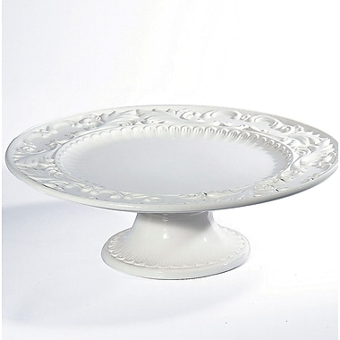 Intrada Baroque Round Footed Platter; White