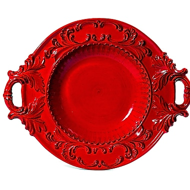 Intrada Baroque Round Bowl w/ Handles; Red