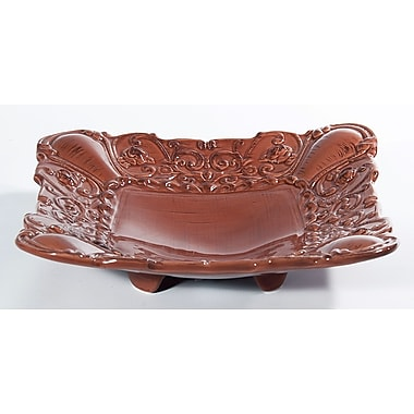 Intrada Baroque Square Footed Shallow Bowl (Set of 2); Paprika