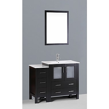 Bosconi Contemporary 42'' Single Bathroom Vanity Set w/ Mirror; Espresso