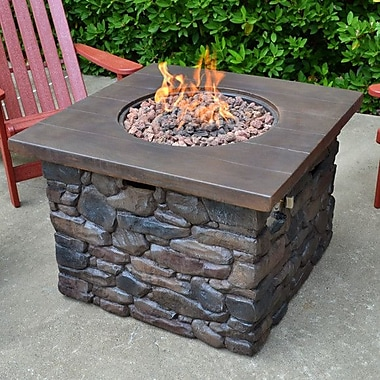 Tortuga Outdoor Yosemite Faux Wood/Stone Propane Fire Pit Table