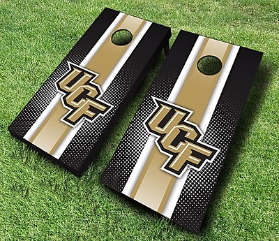 AJJCornhole NCAA 10 Piece Striped Cornhole Set; Central Florida Knights