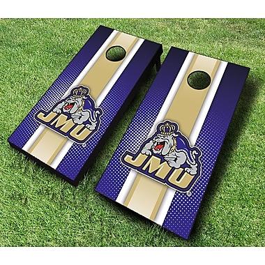 AJJCornhole NCAA 10 Piece Striped Cornhole Set; James Madison Dukes