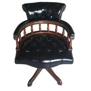 EasternLegends Leather Bankers Chair; Black