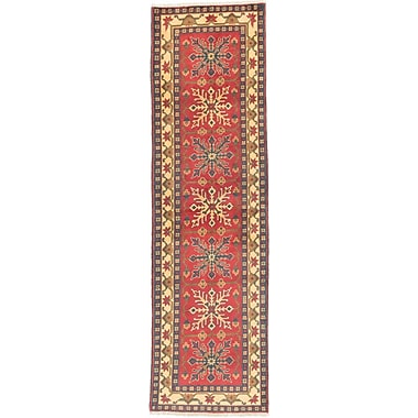 ECARPETGALLERY Finest Kargahi Hand-Knotted Dark Red/Light Gold Area Rug
