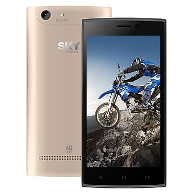 Sky Devices Elite 5.0LW LTE Unlocked Smartphone, Gold, (854546006565)