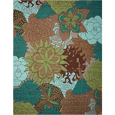 Nourison South Beach Hand-Woven Blue/Green/Brown Indoor/Outdoor Area Rug; 5' x 7'6''