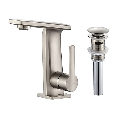 Kraus Novus Single Hole Single Handle Bathroom Faucet w/ Pop-UP Drain; Brushed Nickel
