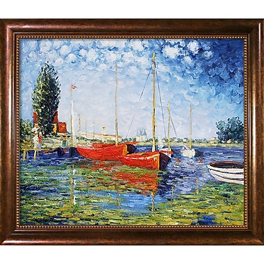 Wildon Home Red Boats at Argenteuil by Claude Monet Framed Painting