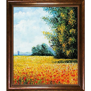 Wildon Home Champ Davoine (Oat Field) by Claude Monet Framed Painting