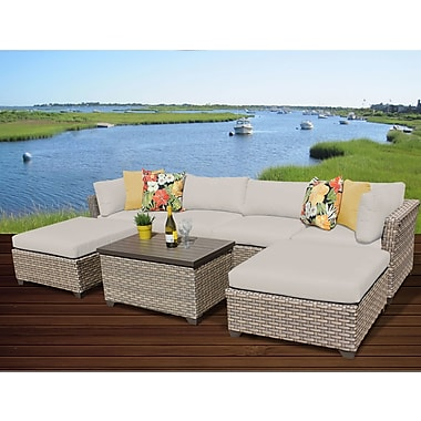 TK Classics Monterey 7 Piece Sectional Seating Group w/ Cushion; Beige