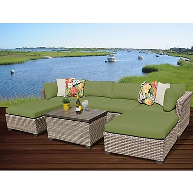 TK Classics Monterey 7 Piece Sectional Seating Group w/ Cushion; Cilantro