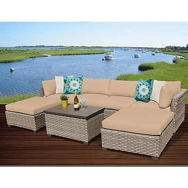 TK Classics Monterey 7 Piece Sectional Seating Group w/ Cushion; Wheat
