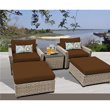 TK Classics Monterey 5 Piece Deep Seating Group w/ Cushion; Cocoa