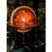Three Star Old World Globe on Wood Base