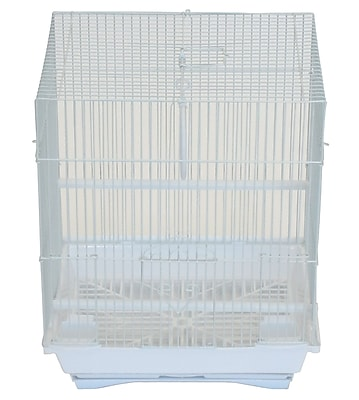 YML Flat Top Small Parakeet Cage w/ Food Access Door; White