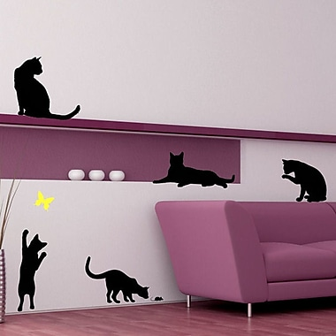 DecaltheWalls Cats w/ a Butterfly Wall Decal