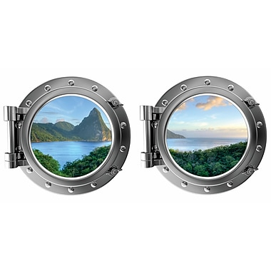 DecaltheWalls Mountain Water Island View St. Lucia Caribbean Porthole Fabric Wall Decal