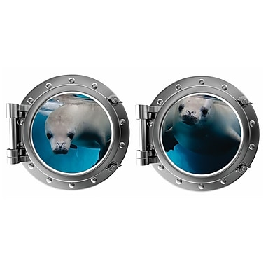 DecaltheWalls Pair of Seals Porthole Fabric Wall Decal