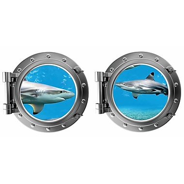 DecaltheWalls Sharks Porthole Fabric Wall Decal