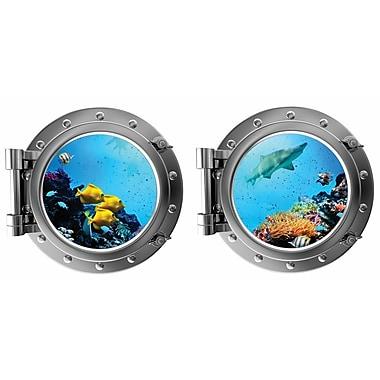 DecaltheWalls Tropical Fish and Shark w/ Coral Porthole Fabric Wall Decal