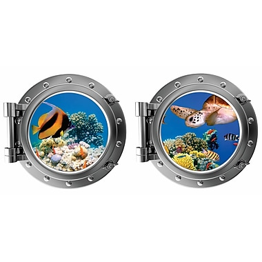 DecaltheWalls Under the Sea w/ Colorful Fish and Turtle Porthole Fabric Wall Decal
