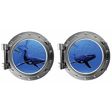 DecaltheWalls Humpbacks w/ Diver Porthole Fabric Wall Decal
