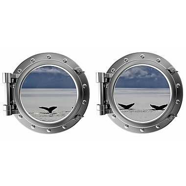 DecaltheWalls Whale Tails Mountain Background Porthole Fabric Wall Decal