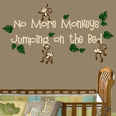 DecaltheWalls No More Monkeys Jumping on the Bed Wall Decal
