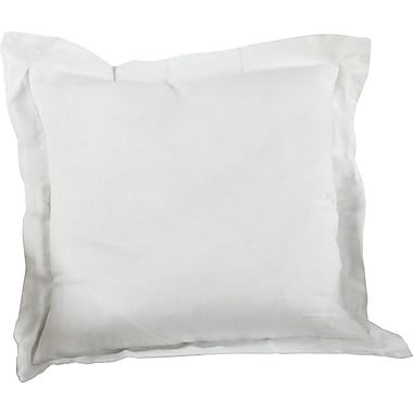 Saro Flanged Linen Throw Pillow; Ivory