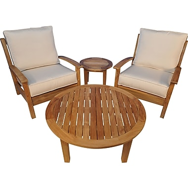 Regal Teak 4 Piece Teak Deep Seating Group w/ Cushion; Canvas