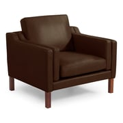 Kardiel Monroe Mid Century Modern Leather Guest Club Chair; Coco Brown