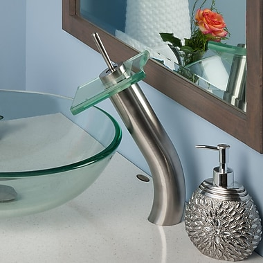 Novatto Squared Single Handle Waterfall Faucet Set; Brushed Nickel