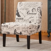 Roundhill Furniture Goodale Script Linen Fabric Oversize Slipper Chair