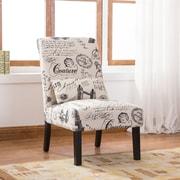 Roundhill Furniture Pisano Script Linen Print Fabric Armless Contemporary Side Chair
